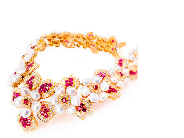 A cultured pearl, diamond and synthetic ruby necklace