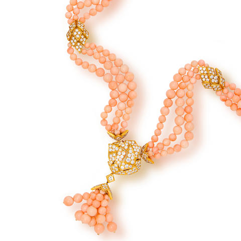 A coral and diamond multistrand necklace