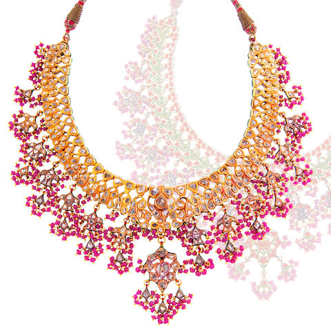 A diamond, ruby and enamel Indian necklace