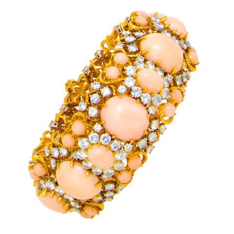A diamond and coral bracelet