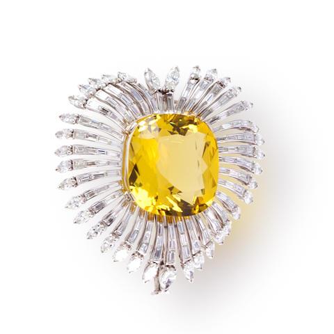A yellow beryl and diamond brooch