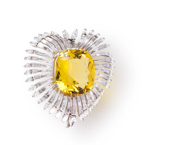 A yellow beryl and diamond brooch