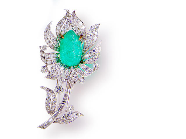 An emerald and diamond brooch, Van Cleef & Arpels