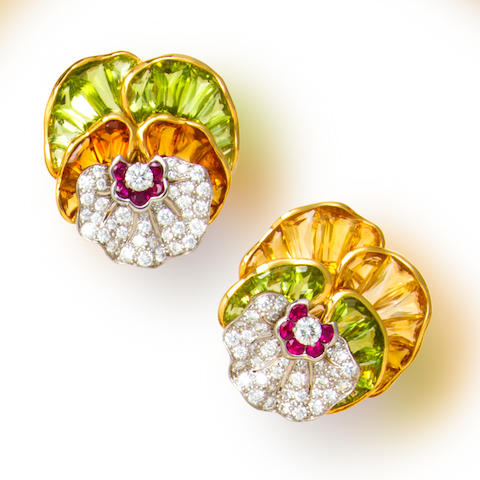 A pair of diamond and gem-set pansy earclips, Oscar Heyman & Brothers