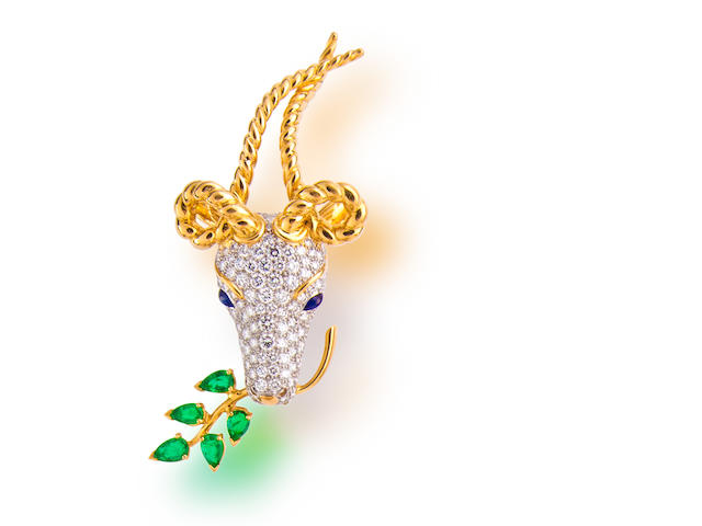 A diamond, emerald and sapphire 'gazelle' brooch, Jean Schlumberger, Tiffany & Co.