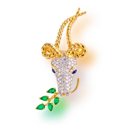 A diamond, emerald and sapphire 'gazelle' brooch, Jean Schlumberger, Tiffany & Co.