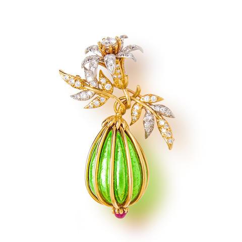 A diamond, ruby and enamel 'eggplant' brooch, Jean Schlumberger, Tiffany & Co.,