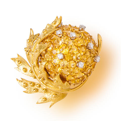 A yellow sapphire and diamond 'chestnut brooch', Jean Schlumberger, Tiffany & Co.