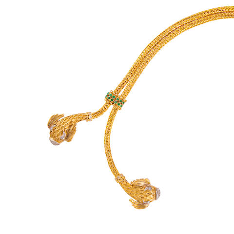 An eighteen karat bi-colored gold, emerald and diamond lariat necklace, Ilias Lalaounis