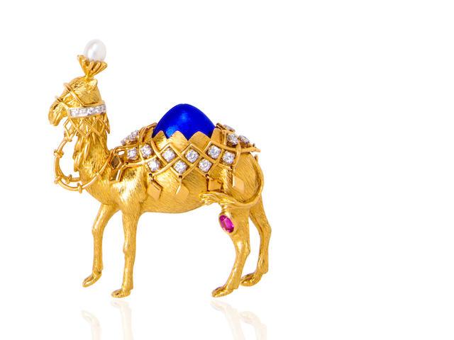 An eighteen karat gold, enamel and gem-set 'camel' brooch, Jean Schlumberger, Tiffany & Co.