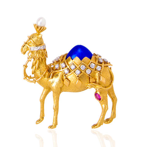 An eighteen karat gold, enamel and gem-set 'camel' brooch, Jean Schlumberger, Tiffany & Co.