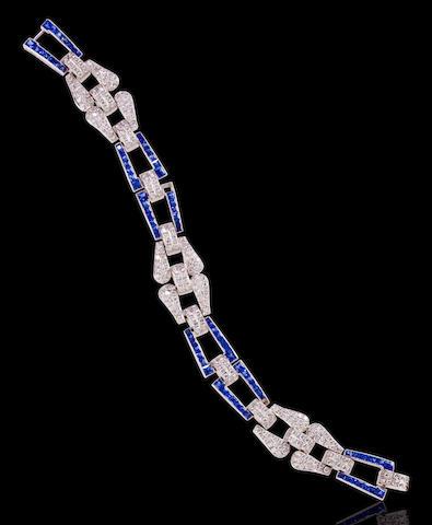 A diamond and sapphire bracelet