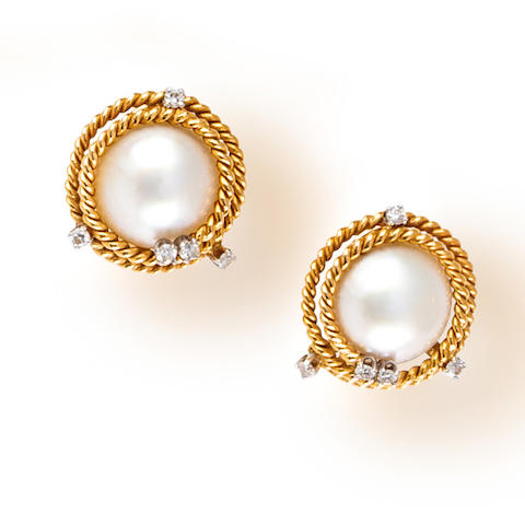 A pair of mabé cultured pearl and diamond earclips, Jean Schlumberger, Tiffany & Co.