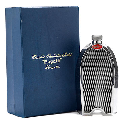 A Bugatti radiator spirit decantor by Ruddspeed,
