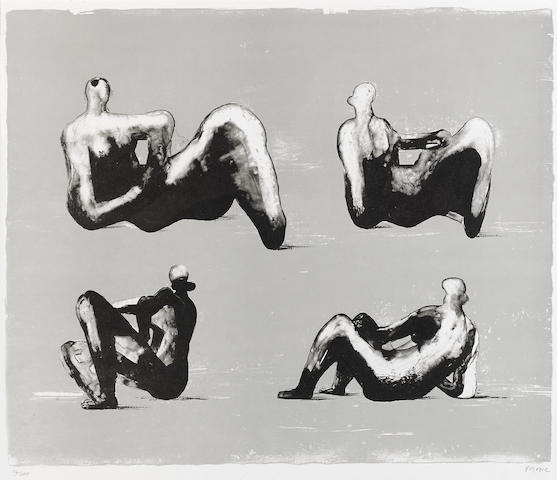 Henry Moore (1898-1986); Four Reclining Figures, from Omaggio a Michelangelo;