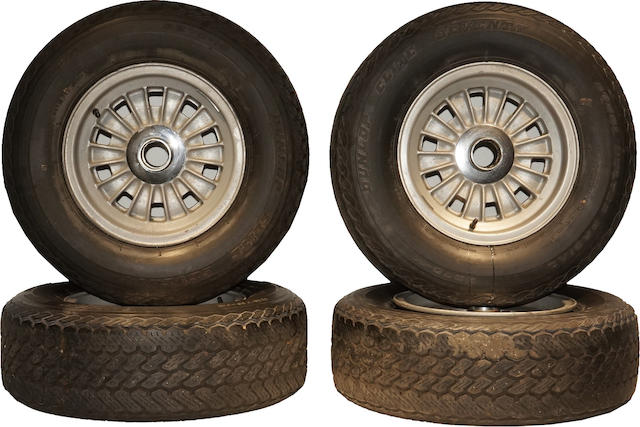 A set of (4) Ferrari 275 GTB magnesium Campagnolo wheels with period tires.