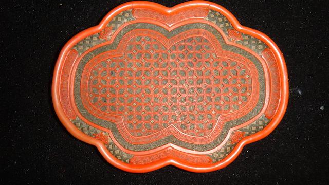A cinnabar lacquer tray 18th century