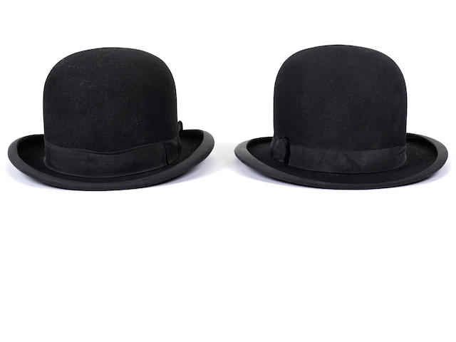 A pair of Laurel and Hardy derby hats
