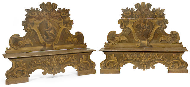 A fine pair of impressive Italian Baroque painted cassapancas first half 18th century