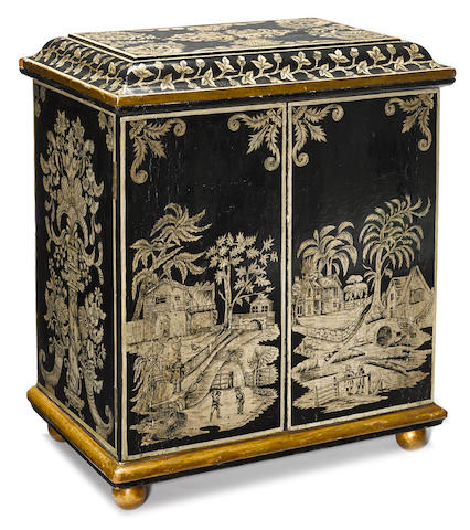 A Regency penwork and ebonized table cabinet early 19th century