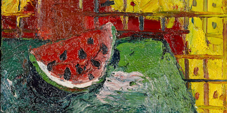 Joan Brown (1938-1990) Portrait of a Watermelon, 1964 20 x 22in. (50.8 x 55.8cm)