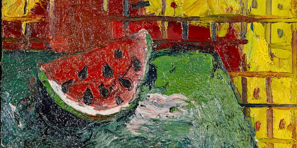 Joan Brown (1938-1990) Portrait of a Watermelon, 1964 20 x 22in. (50.8 x 55.8cm)