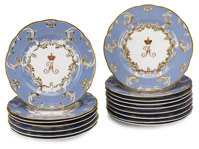 A set of sixteen plates from a banquet service with the monogram of Grand Duke Alexander NikolaevichImperial Porcelain Factory, St. Petersburg, period of Nicholas I