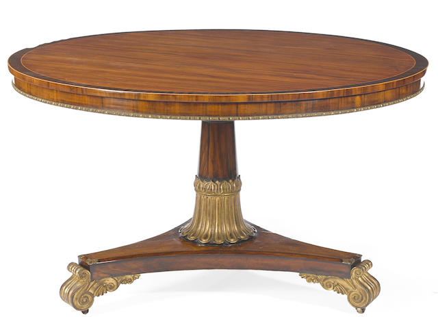 A Regency parcel gilt rosewood and mahogany breakfast table  first quarter 19th century
