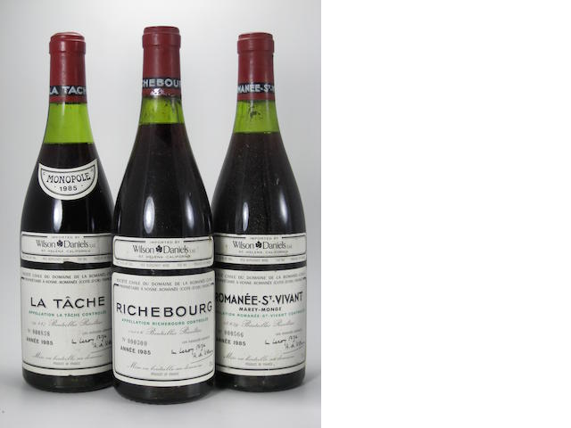 Grands-Échézeaux 1985 (2)  La Tâche 1985 (2)  Richebourg 1985 (1)  Romanée-St-Vivant, Marey Monge 1985 (1)