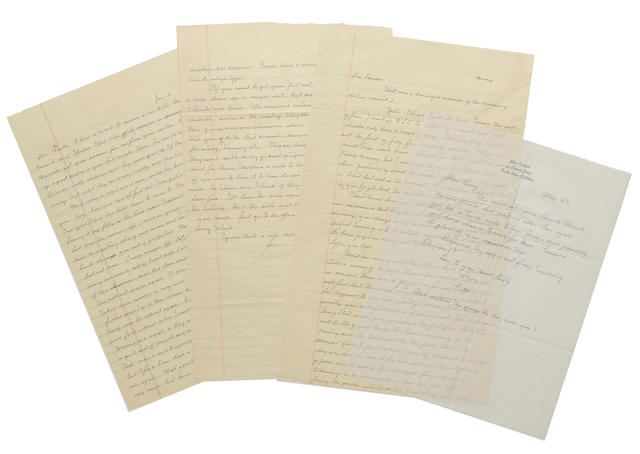 "STEINBECK, JOHN. 1902-1968. 6 Autograph Letters Signed (""John,"" ""John Steinbeck"" ""J.""), 11 pp recto and verso;"