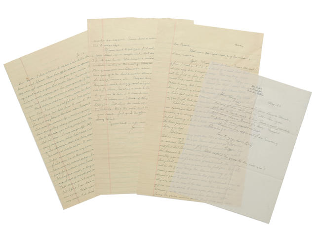 """STEINBECK, JOHN. 1902-1968. 6 Autograph Letters Signed (""""John,"""" """"John Steinbeck"""" """"J.""""), 11 pp recto and verso;"""