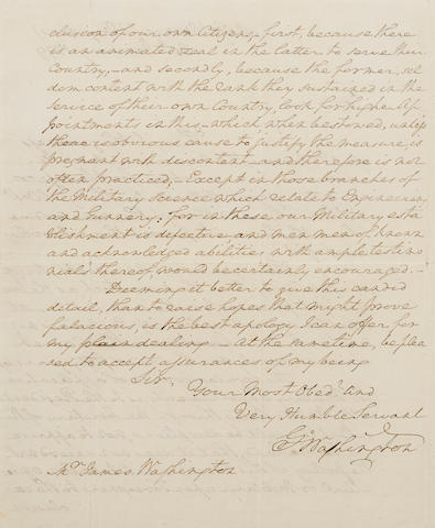 "WASHINGTON, GEORGE. 1732-1799. Autograph Letter Signed (""Go: Washington""), 2 pp recto and verso, 4to (with integral blank leaf),"