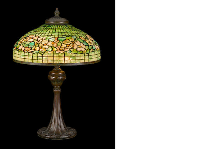 A Tiffany Studios Favrile glass and patinated bronze Banded Dogwood table lamp 1899-1918