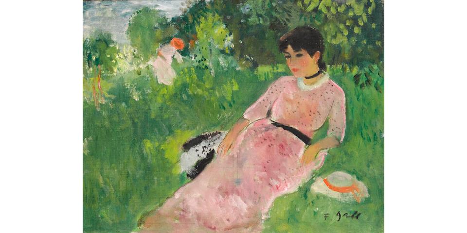 François Gall (French, 1912-1987) Eugénie et sa mère, au Lac du Bois de Vincennes, Paris 12è, circa  1950    10 1/2 x 13 3/4in