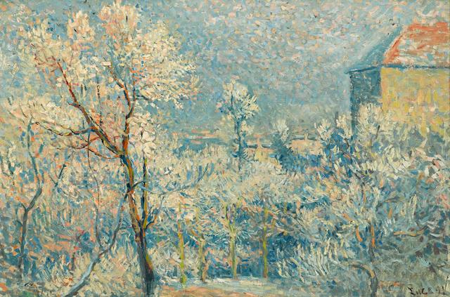 MAXIMILIEN LUCE (1858-1941) Le jardin sous la neige, Rue Cortot 19 1/2 x 28 5/8in. (50 x 73cm)