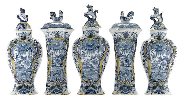 A Dutch Delft polychrome enameled five piece mantel garniture De Porceleyne Schotel late 18th century