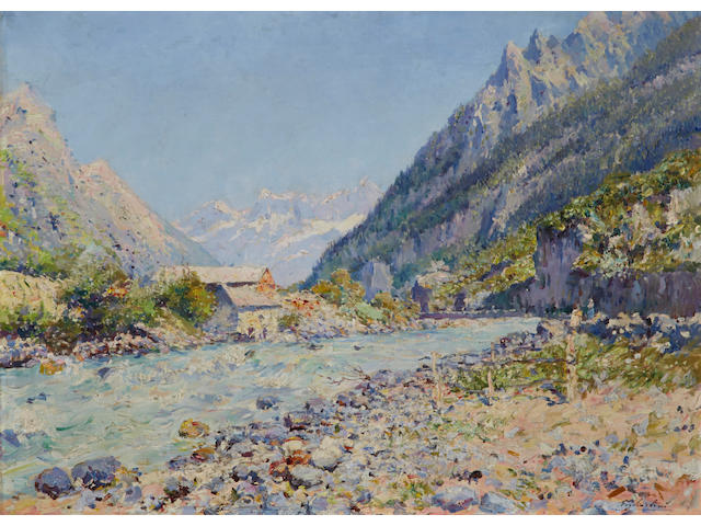 Julien Gustave Gagliardini (French, 1846-1927) A river in the Alps 29 x 39 1/2in