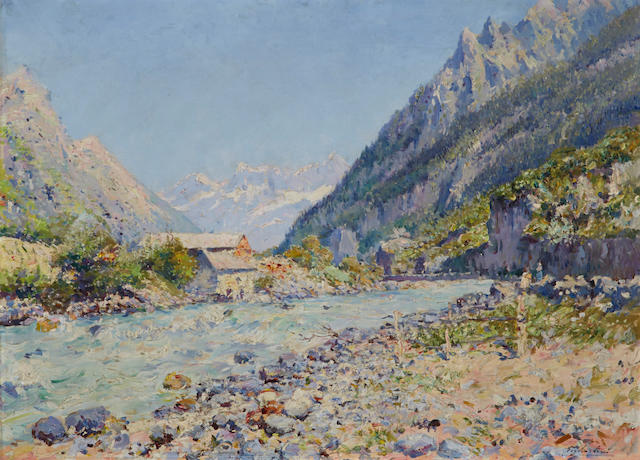 Julien Gustave Gagliardini (French, 1846-1927) A river in the Alps 29 x 39 1/2in (73.7 x 100.3cm)