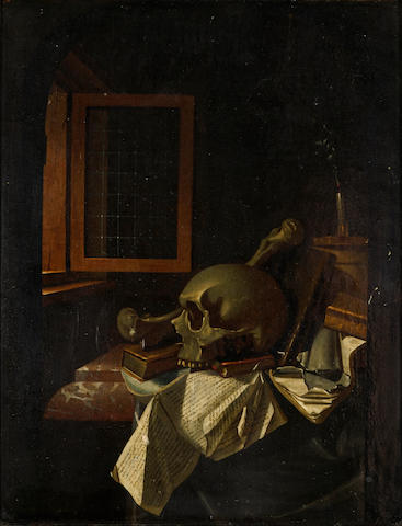 Attributed to Frans van Dalen (Dutch, 17th Century) Vanitas 8 x 6 1/2in (20.3 x 16.5cm)