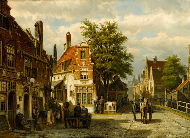 Willem Koekkoek (Dutch, 1839-1895) A Busy Street in Summer, Enkhuizen 17 3/8 x 23 3/4in (44.2 x 60cm)