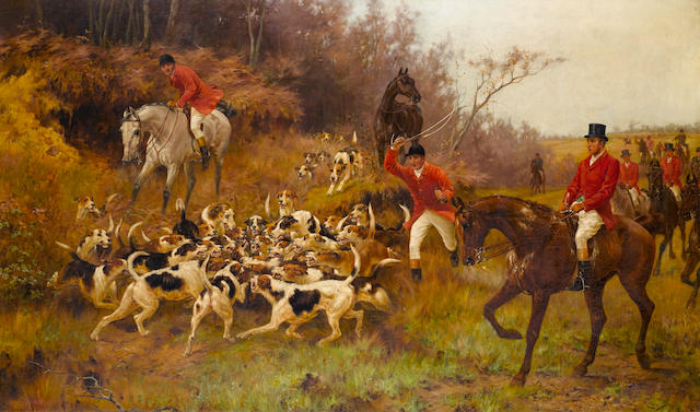 Thomas Blinks (British, 1860-1912) The end of the hunt 30 1/4 x 50in (77 x 127cm)