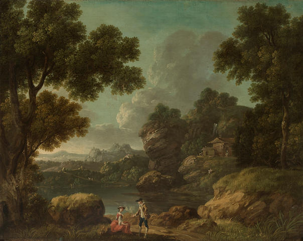 English School, 18th Century A river landscape with two figures 23 x 28 1/2in (58.4 x 72.4cm)
