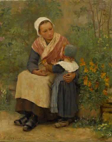 Théophile-Louis Deyrolle (French, 1844-1923) Avril en Bretagne 21 1/2 x 18 1/2in (54.6 x 47cm)