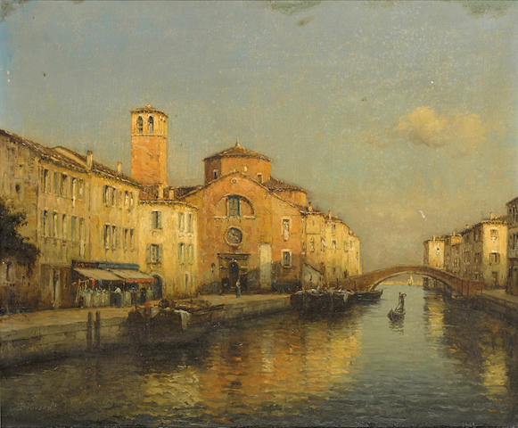 Antoine Bouvard (French, 1870-1956) A quiet Venetian canal 20 x 24in (50.8 x 61cm)