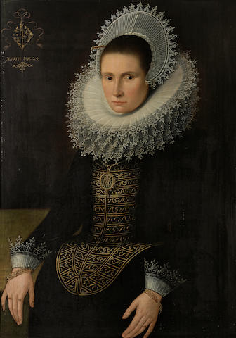 Studio of Michiel Jansz. van Miereveldt (Delft 1567-1641) A portrait of a lady, three-quarter length, age 25 36 x 26 1/2in (91.4 x 67.3cm)
