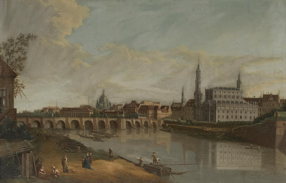 Follower of Bernardo Bellotto (Venice 1722-1780 Warsaw) Dresden from the right bank of the Elbe below the Augustus Bridge; Dresden from the right bank of the Elbe above the Augustus Bridge (a pair) each 19 3/4 x 30in (50.1 x 76.2cm)