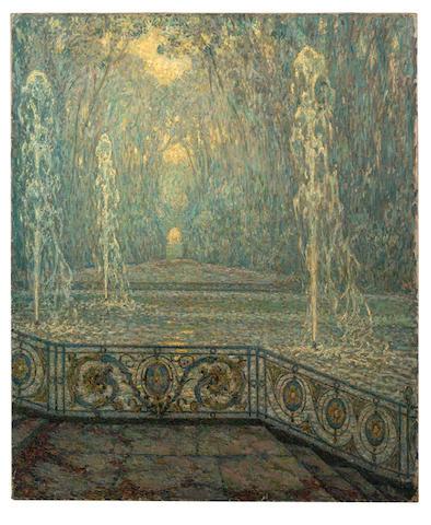 HENRI LE SIDANER (1862-1939) Les jets d'eau, Versailles 59 1/2 x 49 3/8 in. (151 x 125.5 cm)