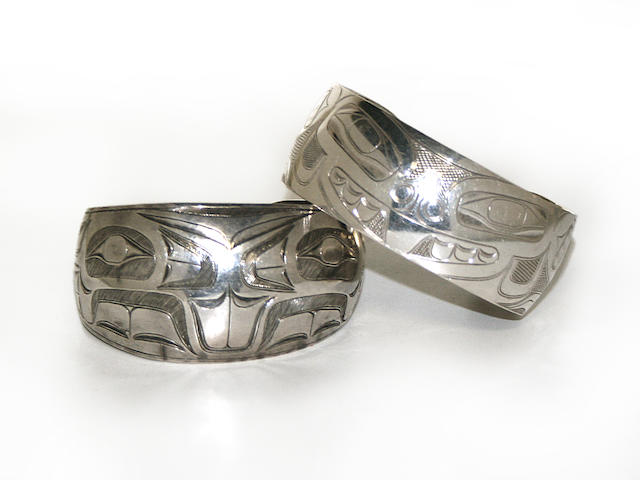Two Northwest Coast silver bracelets