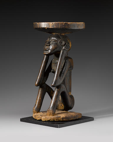 Chokwe Stool with Female Figure, Angola