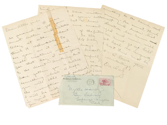 A rare handwritten Oliver Hardy letter